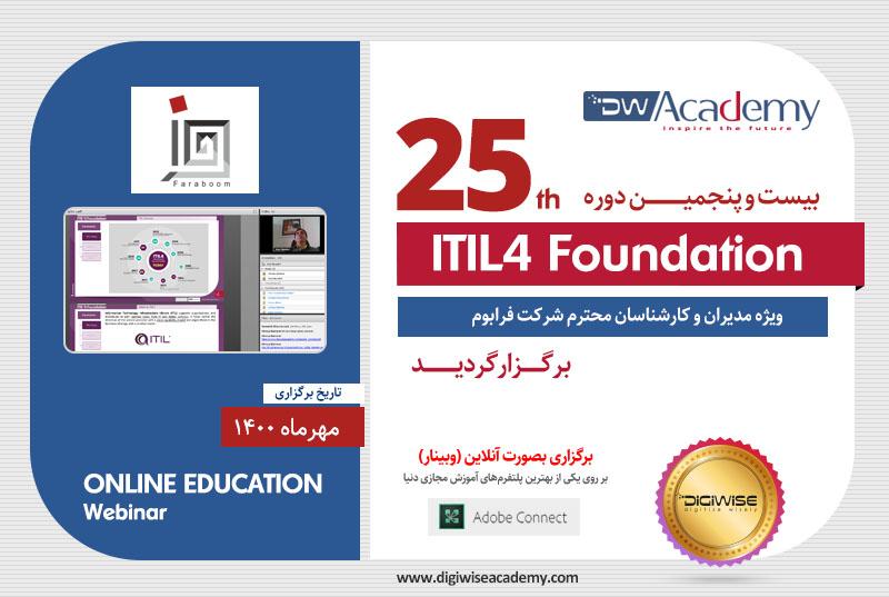 بیست و پنجمین دوره آموزشی ITIL4 FOUNDATION برگزار گردید